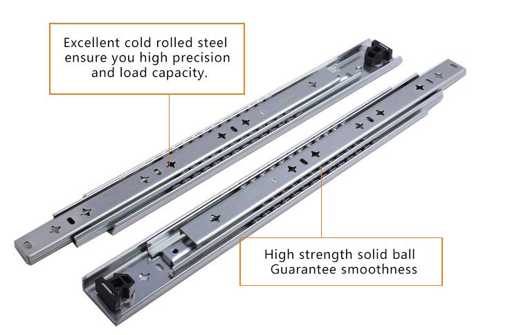 53mm telescopic drawer slide for heavy load