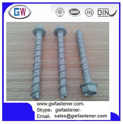 10 x Self Tapping M6 x 75mm Anchor Bolt Masonry//Concrete//Stone//Brick Flange Head