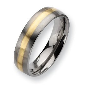 Saudi Gold Rings Mens Jewelry 6mm Titanium Ring With 18k Accents Inlay Muslim Wedding Band