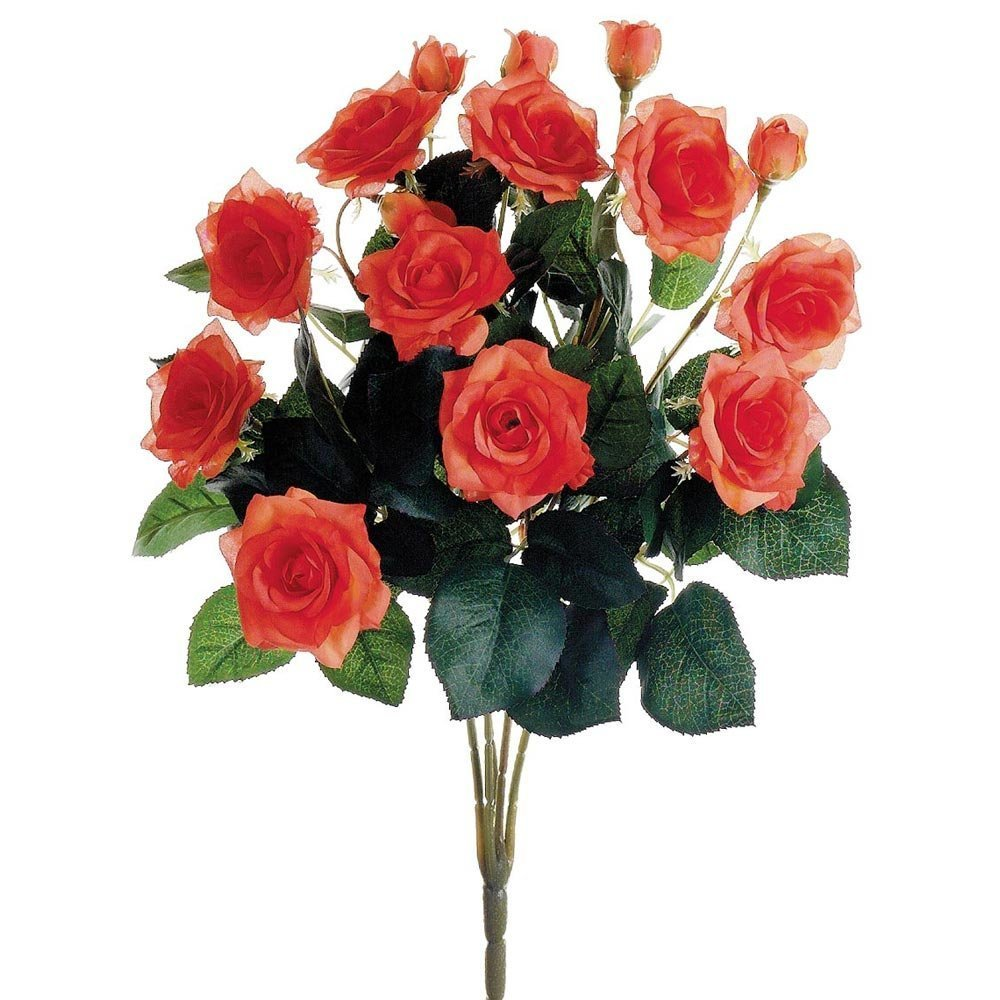 Buy Silk Flower Rose Bush In Coral 15 Tall In Cheap Price On