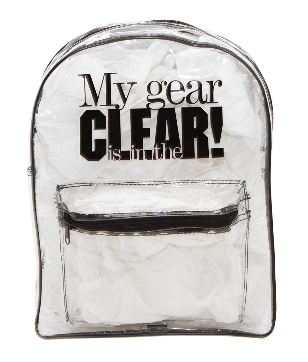 Get Quotations · Teacher Peach Clear Backpack Vinyl Bookbag with Padded  Black Shoulder Straps 43751010679eb