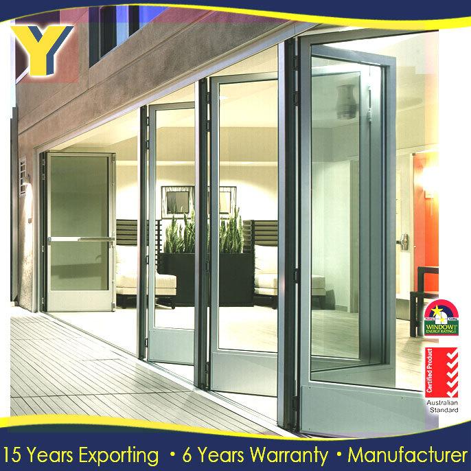 Folding Patio Doors Prices / Frosted Glass Accordion Doors With Locks / Sliding  Patio Door