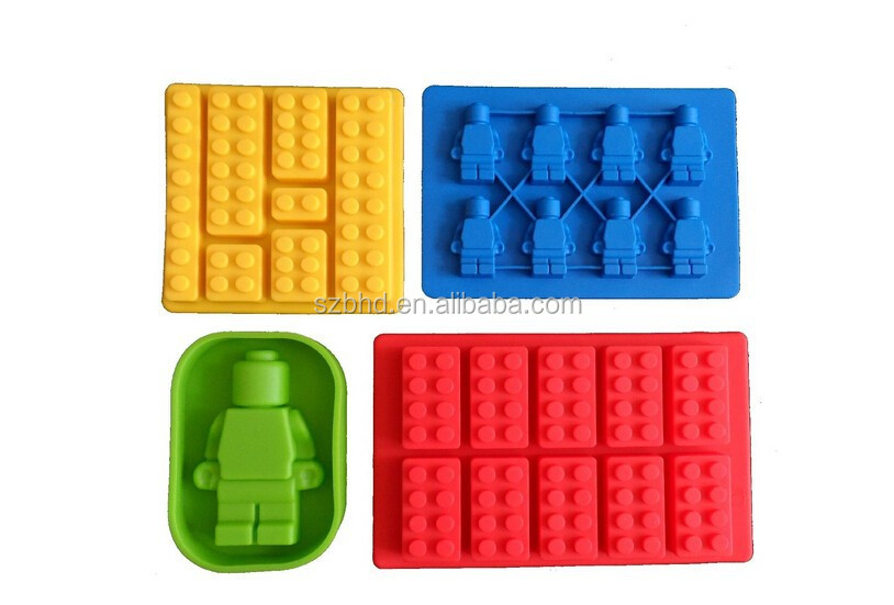 Multi-sized Building Bricks and Minifigure Ice Cube Trays & Candy Chocolate Molds