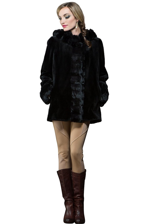 EM-EL Women's Hooded Reversible Black Sheared Mink and Chinchilla Fur Parka