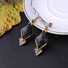 new hot diamond shaped black gemstons gold alloy earring china(PR1535)