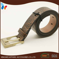 Engraved PU leather belt with old alloy metal buckle for man