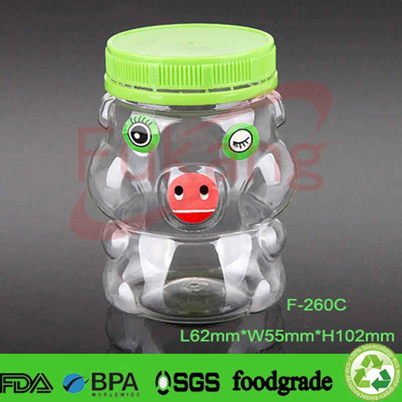 260ml PET animal shape plastic children's gift jar wholesale USA,PET piggy shape plastic christmas candy jar factory in Dongguan