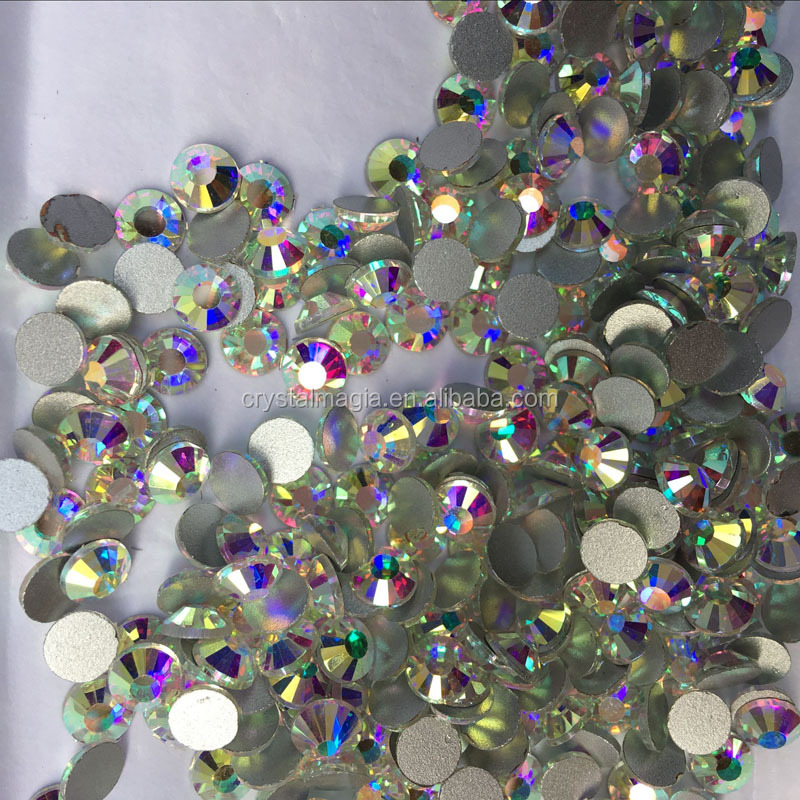 top quality DMC non hot fix rhinestone for nail art flat back silver foil Crystal