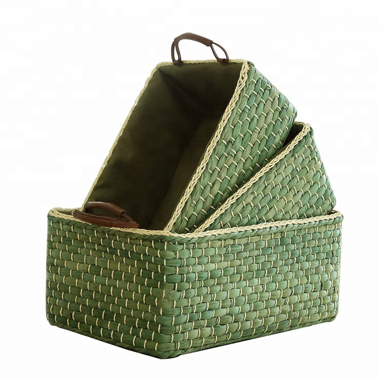 YRMT rectangular maize woven storage basket with handle, Green