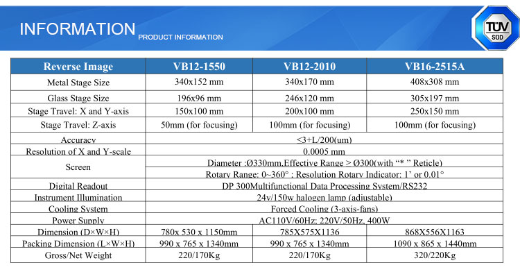 JATEN VB-16 300mm Vertical optics Profile Projector Price