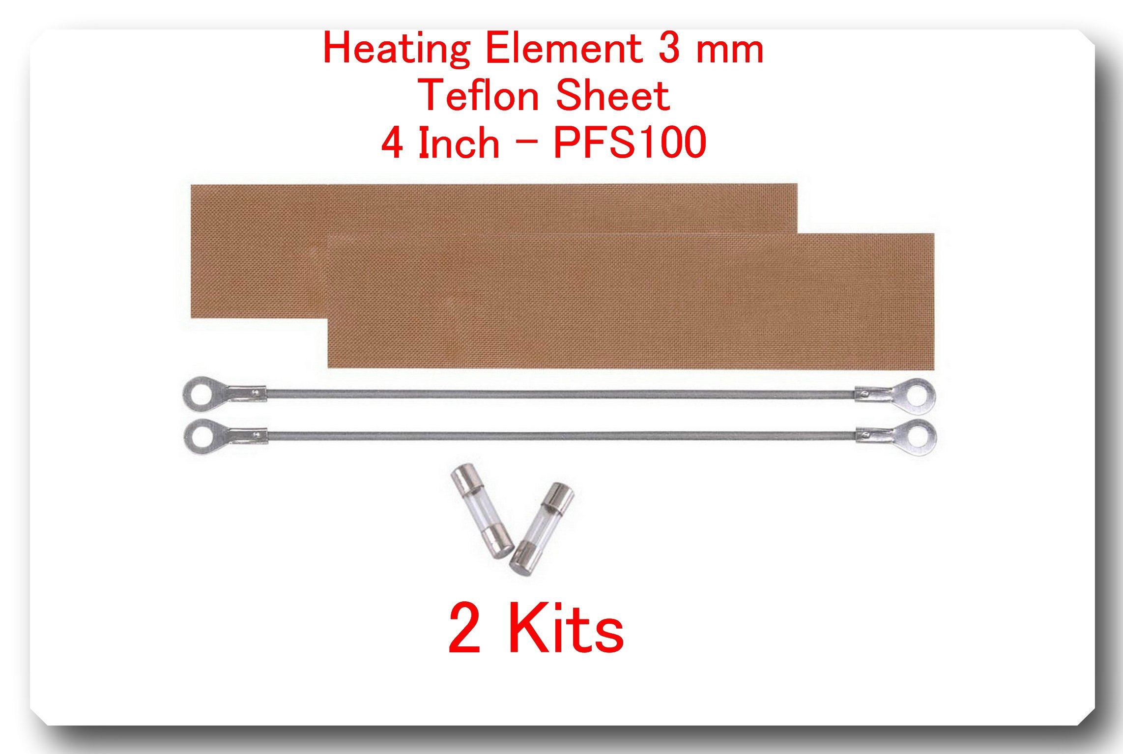 "(2 Kits) Replacement Elements for Impulse Sealer PFS-200 8""(2 Heating Elements 3 mm+2 Teflon Sheets)"