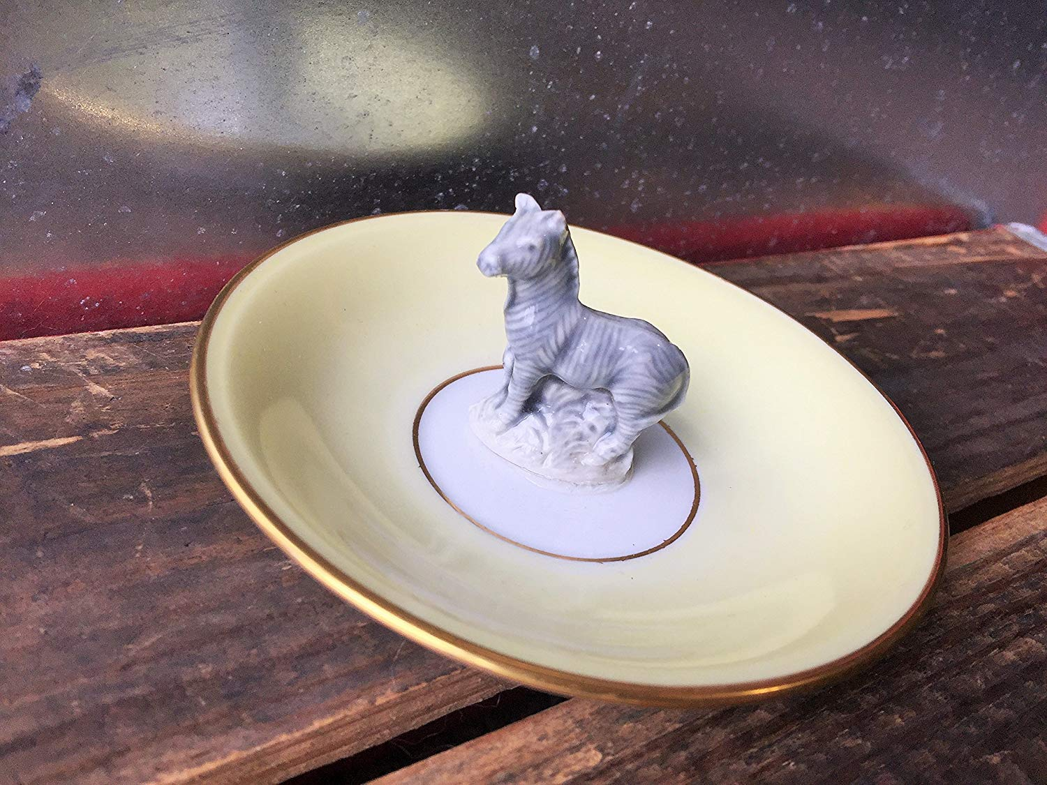 Zebra antique dish ring dish | Assemblage jewelry storage | Repurpose ring tray