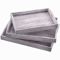 Rustic Wooden Serving Trays with Handle Set of 3 Large, Medium and Small Nesting Serving Trays Rustic White