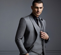 3PC grey color fashion wedding wool material custom men suit (SHW046)