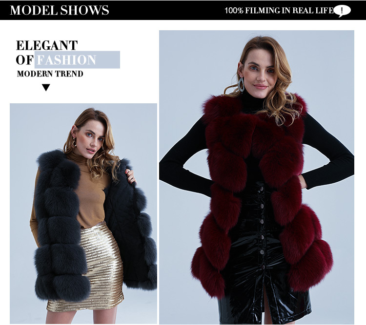 China cheap wholesale warm thick natural women's real fur trimmed fashion ladies fox fur vest gilet
