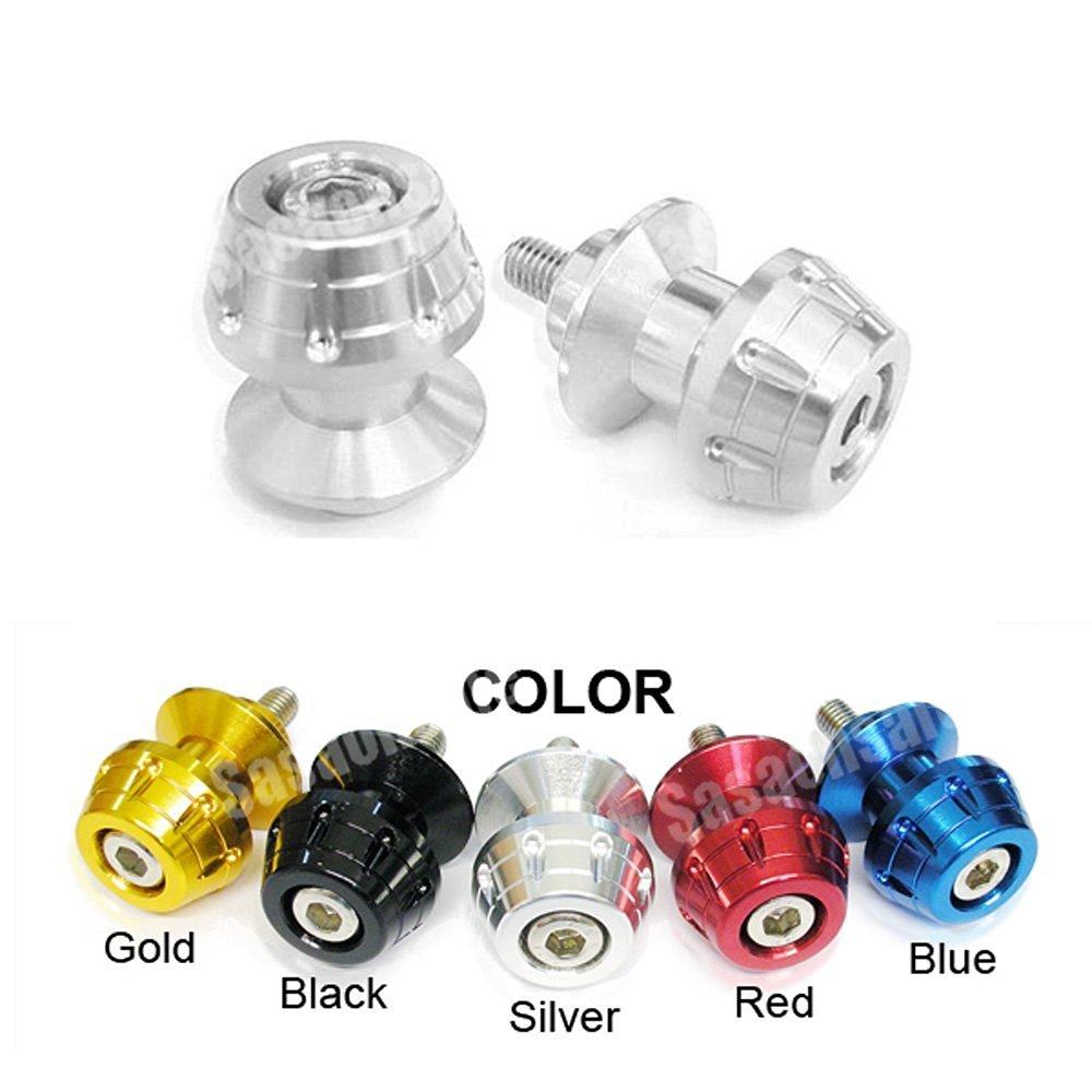 MIT Motors - SILVER - 6mm Universal Swingarm Spools - Yamaha YZF600 R6, YZF1000 R1, YZF 600, 1000, FZ-1, FZ-8, Aprilia RS50, RS125, RS250, Triumph Speed Triple 675, Daytona 675