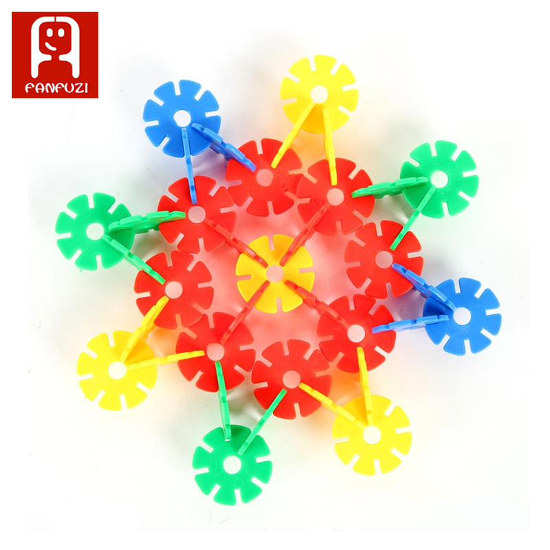 snowflake 280 blocks 12 color building blocks children development puzzle toy DIY toys