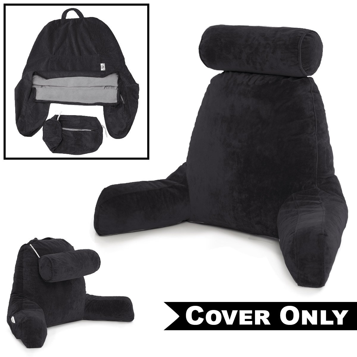 Husband Pillow Black Cover ONLY Cover Set - Microplush Replacement Cover for Big Reading and Backrest Support Bed Rest - Removable and Washable Cover Set Includes Detachable Neck Roll Cover