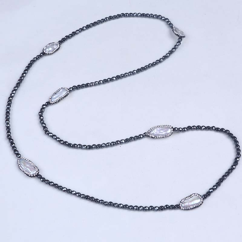 Fashion new design handmade knotted Hematite pearl necklace