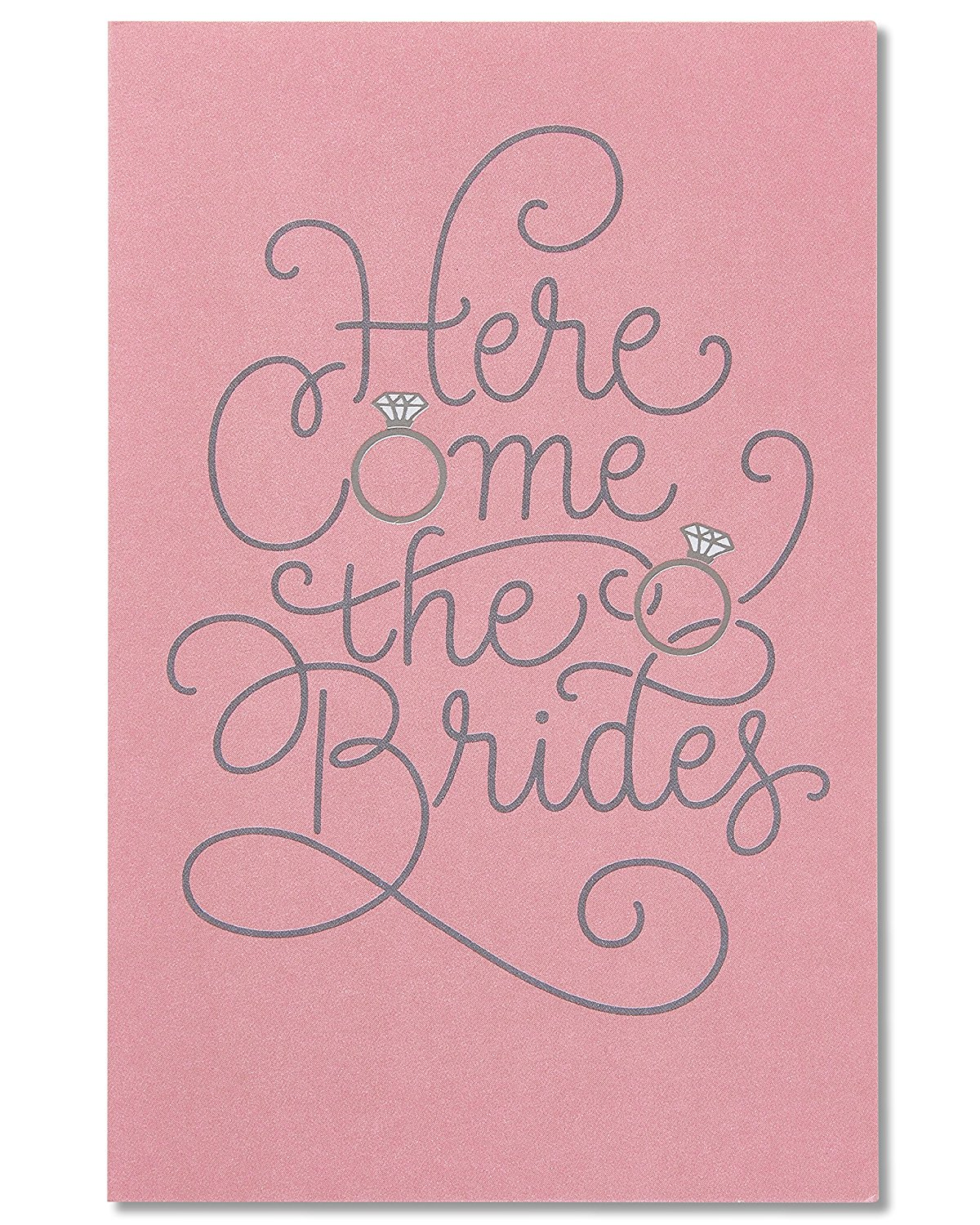 American Greetings Here Come the Brides Wedding Card for Brides with Foil