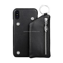 Genuine lychee skin leather case cover with zipper pocket bag for iPhone X