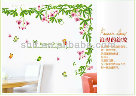 Romantic Flower Vine Wall Decal, Wall Sticker