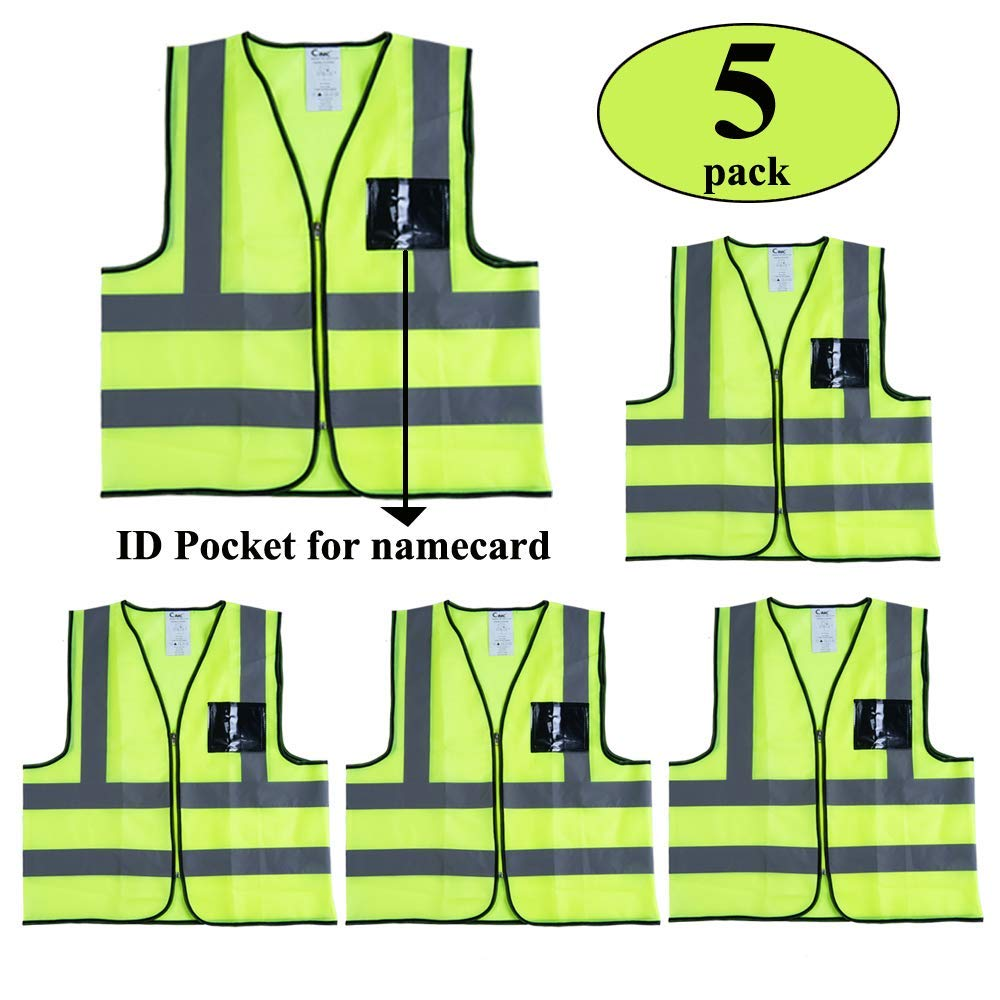 5 Pack | Reflective Safety Vest with Pockets and Zipper | Construction Vest with Sliver Strip | Made from Lightweight Neon Yellow Mesh Fabric | High Visibility Vest for Working Outdoor (Extra Large)