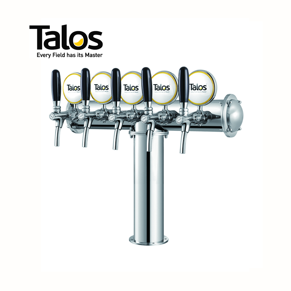 TALOS T Tower Stainless Steel 5 Tap Tower 85mm Beer Dispensing Equipment Draft Beer Tower (Polished)