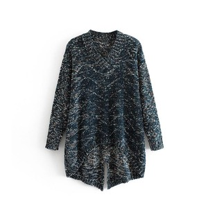 Metallic effect design sexy v neck front short back long v neck sweater woman fashion christmas knitwear with back open