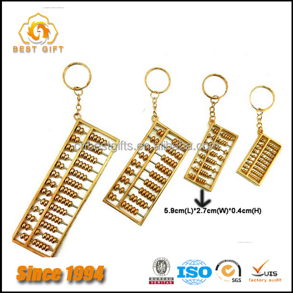 Custom Good Quality 3D Metal Gold Abacus Keychains