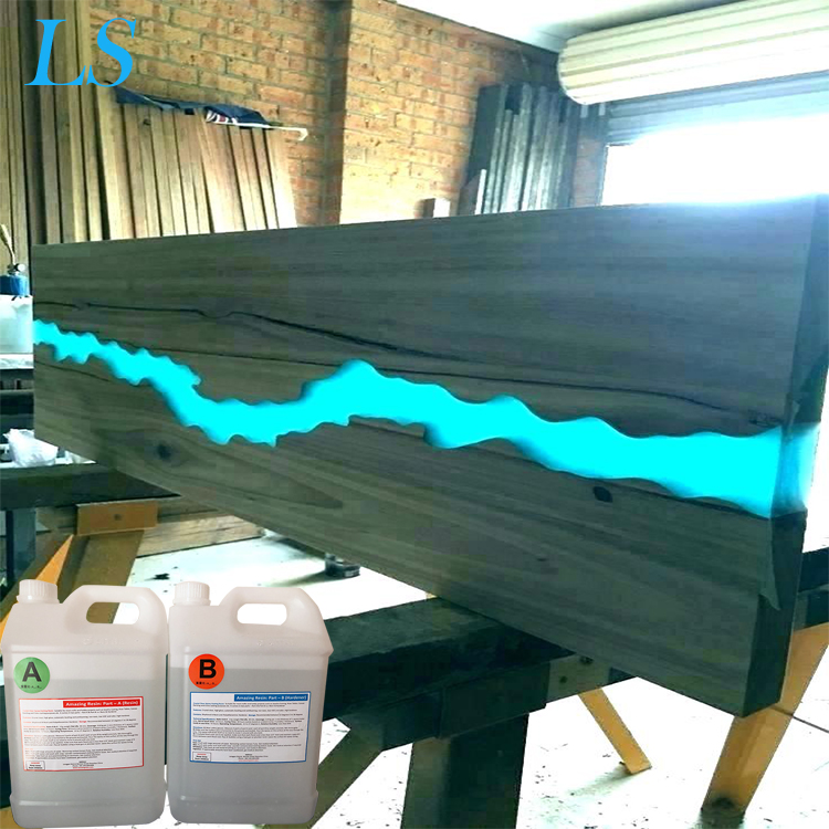 High Gloss Clear Epoxy Resin for Home Design Wood Furniture River Blue Dining Table