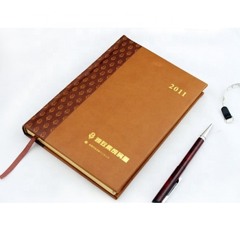 Embossed leather cover foil stamping gold color logo a5 hardback journal notebook