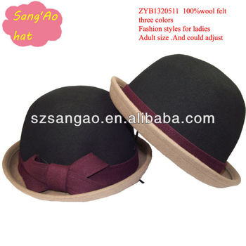 75613175bc27c Small wholesale color fedora church caps beret ladies new style females  wear hair hats100%wool
