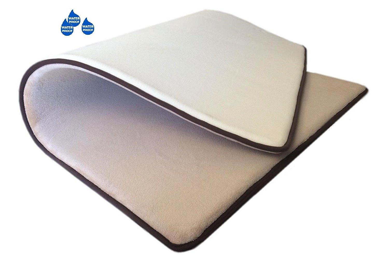Thick Comfort Micro Plush Fleece Beige Luxurious Soft Memory Foam Waterproof Anti Slip Rug Pad Mat for homes, kitchen, baths, bedrooms, pets, activities. (42''x28''x1.25'')