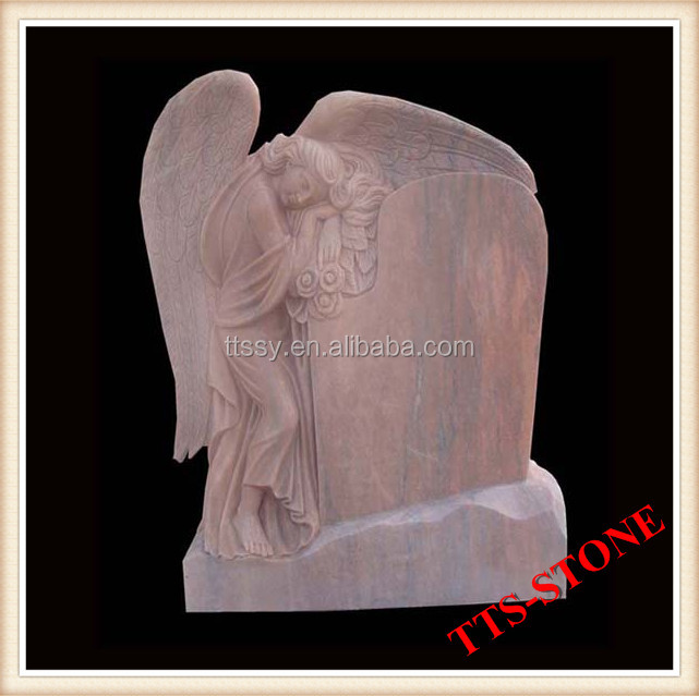 pink marble carved angel tombstone