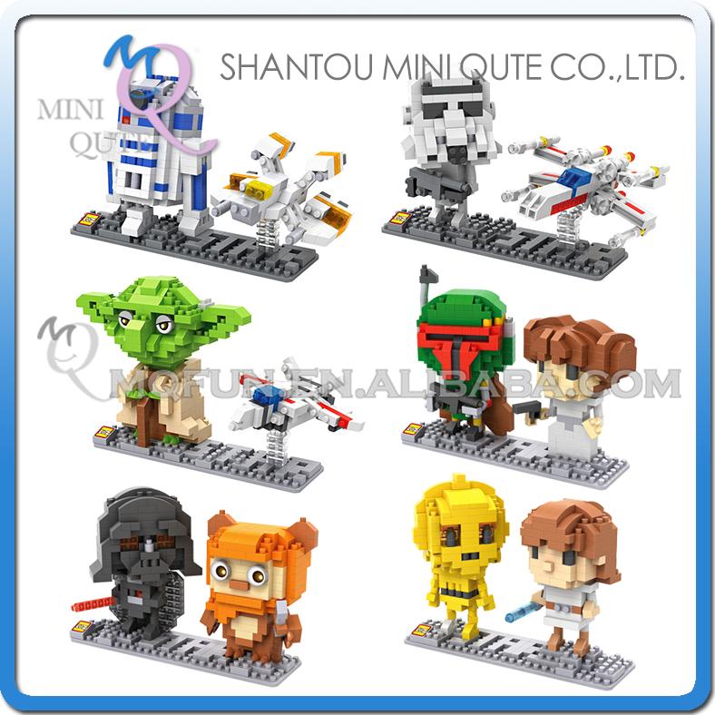 Mini Qute LOZ Star War R2D2 robot Yoda X Wing Starfighter Darth Vader plastic action figures