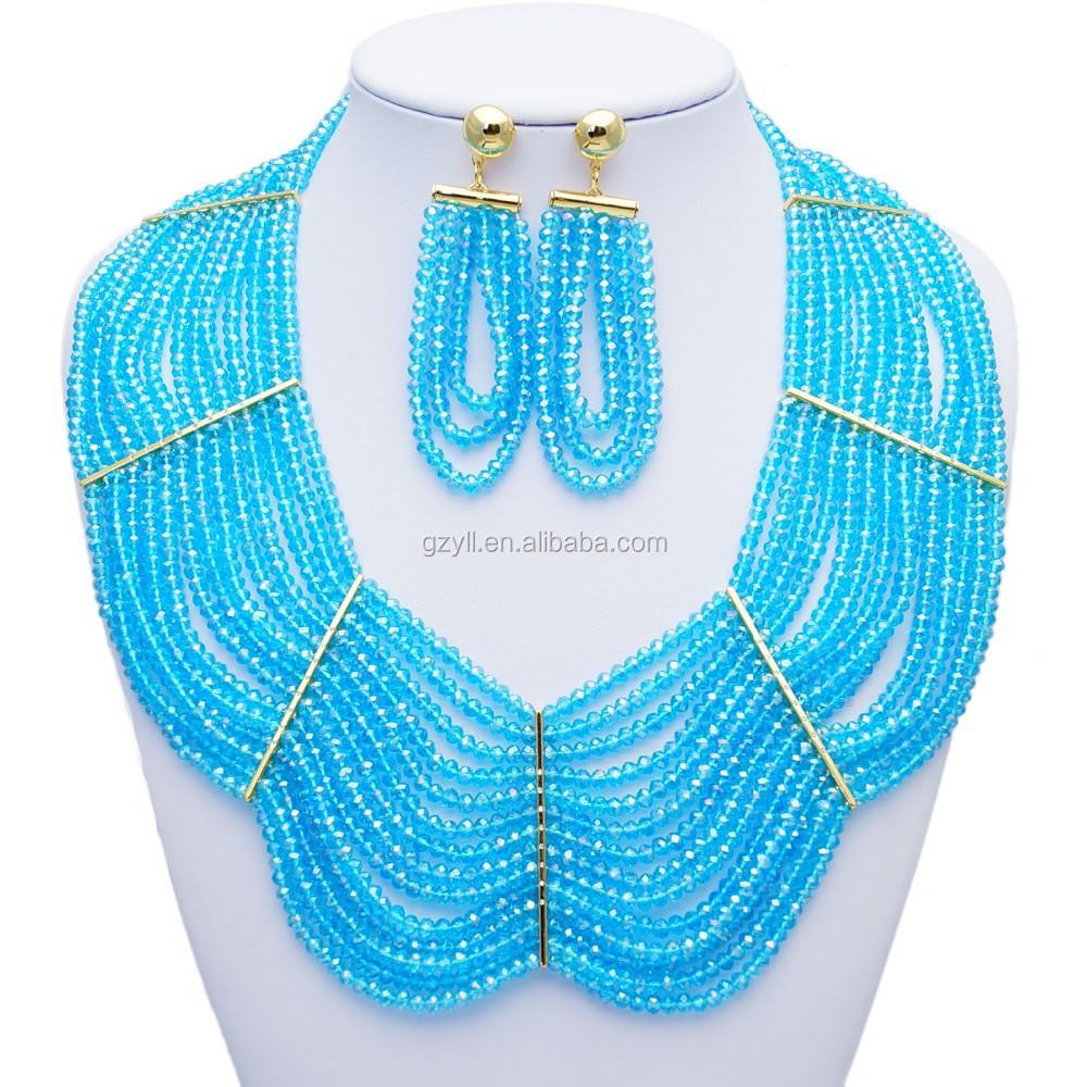Light Blue Bead Necklace Design Jewelry Nigerian Beads Jewelry Set ...