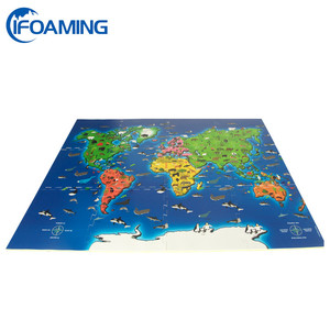 Animal World Map Printing EVA Foam Puzzle Bright Color Floor Mat