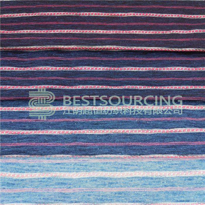 Soft touch jersey knitted denim fabric manufacturer indigo stripe jacquard slub jersey