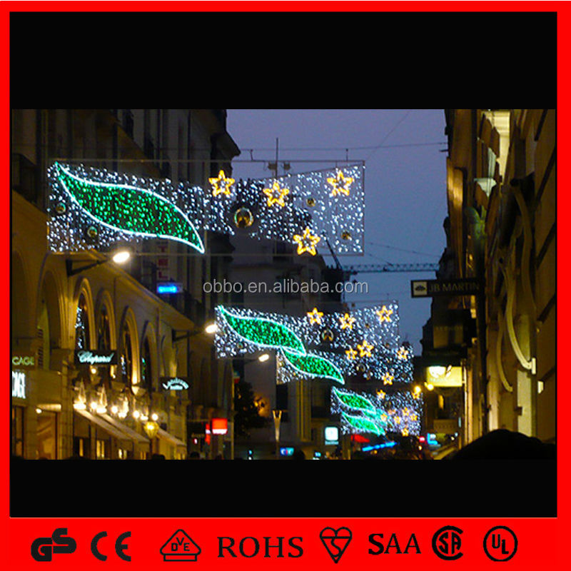 2015 outdoor IP65 green leaf and star motif lights for street decoration