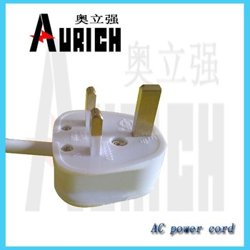 Prefabricated UK type plug,bs1363 ,EU wire type H05VV-F 3G0.75 power cord