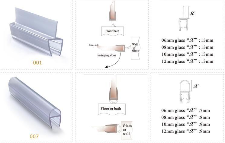 Glass shower door seal massagroup glass shower door seal kit customized transparent double side rubber strip bunnings sealer planetlyrics Images
