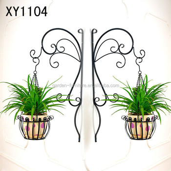 Xy1104 Wrought Iron Plant Hanger Wall Amounted Basket Flower Holder With Brackets Home Garden Patio Decor