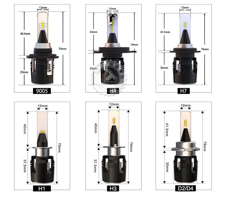 B6S H1 H7 H11 Car LED Headlight Bulbs 60W 8400LM Auto LED Lamp