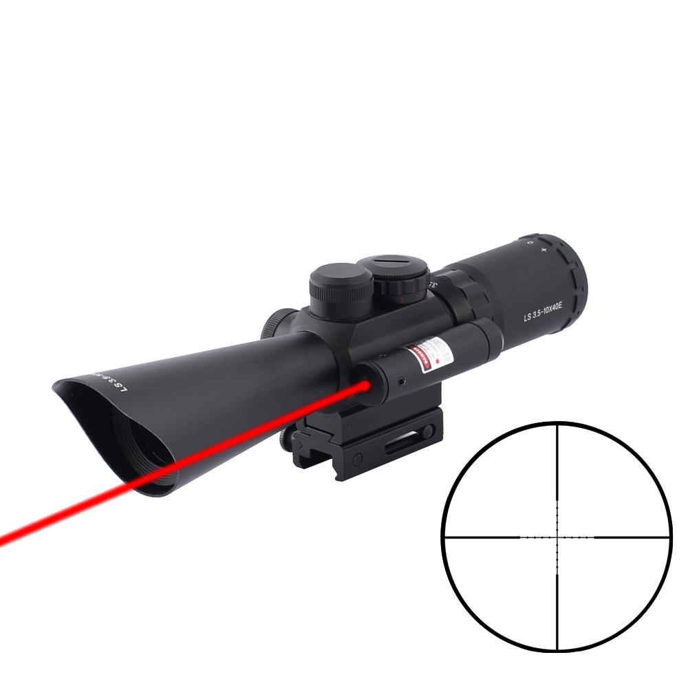 SPINA Hunting Optics Riflescope 3.5-10x40mm Red Dot Sight Fiber Optic Rifle Scope, Black