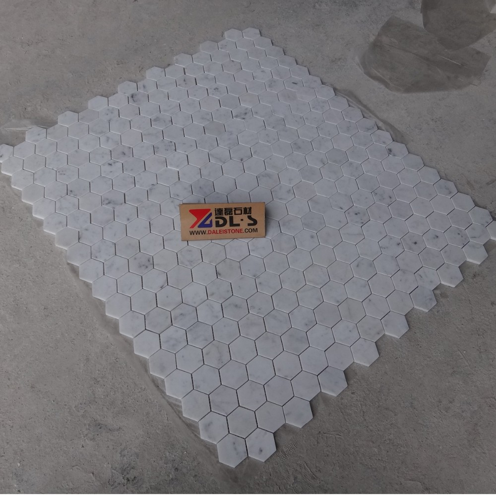 Bianco carrara marmol blanco mosaico de azulejos 12x12 for Marmol de carrara precio