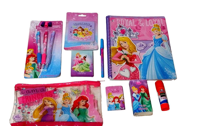 Disney Princess Stationary Set: 9 Piece Disney Princess Notebook, Pen, Pencils, Jumbo Eraser & More