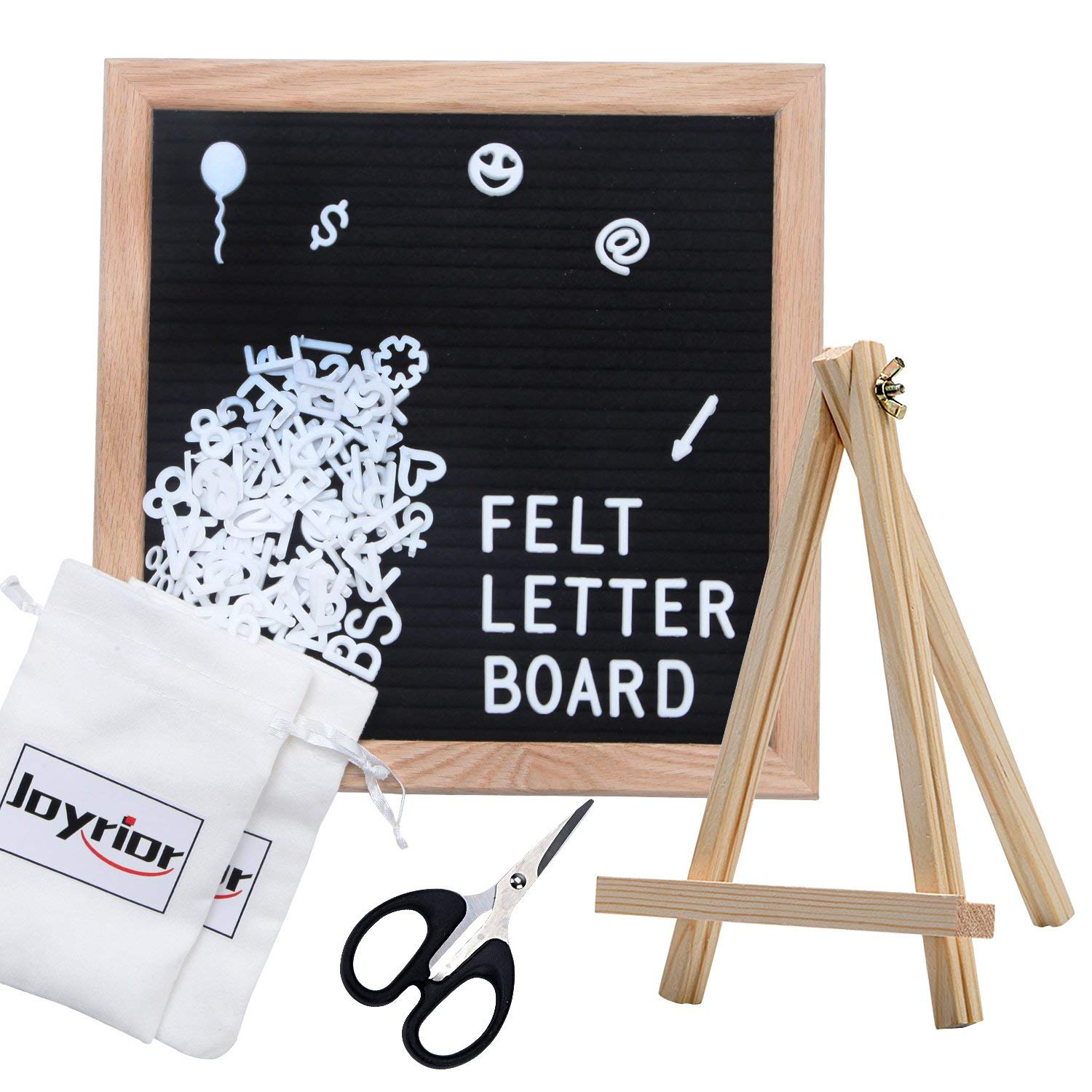 Premium Black Felt Letter Board 10x10 Inches. Changeable Letter Board with 354 White Plastic Letters + Oak Frame + Sawtooth Hanger + Wooden Tripod Stand + Scissors + 2 Drawstring Pouches