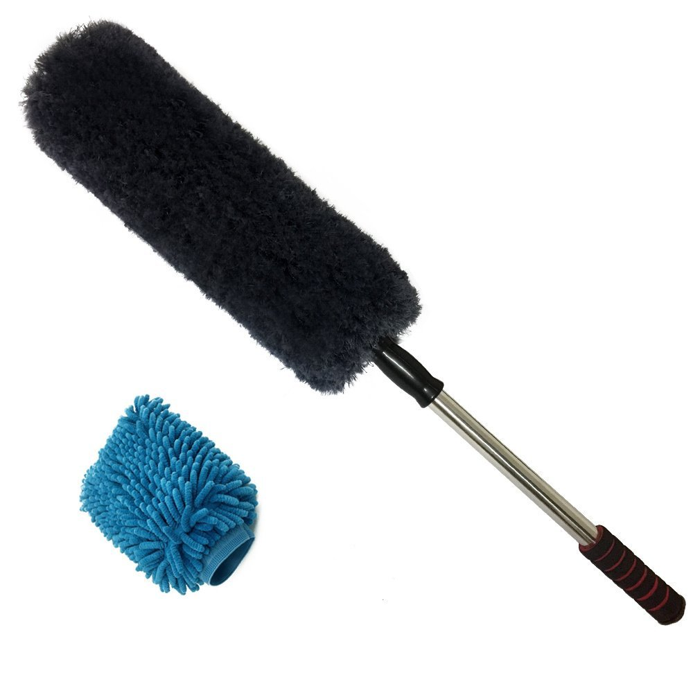 Car Duster - Microfiber Duster - Strong Decontamination Own Wax - Lint - Unbreakable Extendable Soft Handle