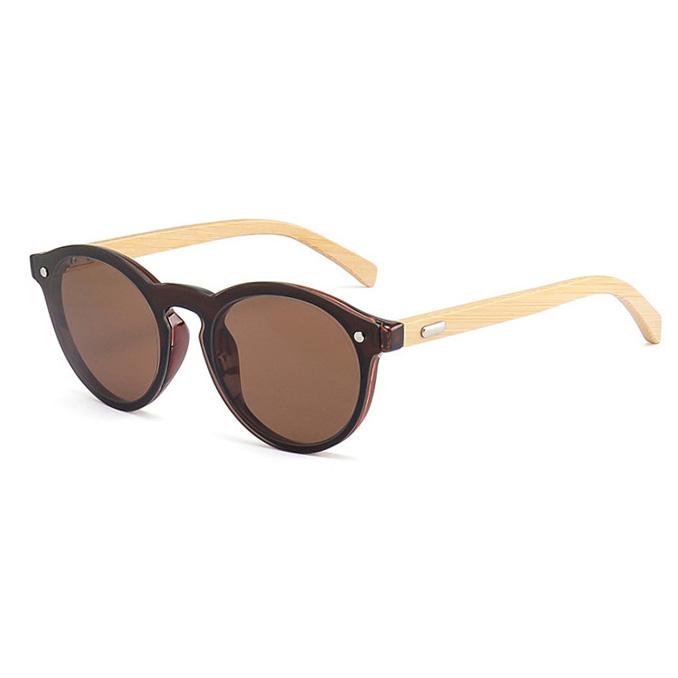 70607 Superhot Eyewear 2019 Round Retro one piece lens Sun glasses Custom Logo Bamboo Sunglasses